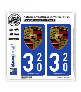 320 Porsche | Autocollant plaque immatriculation