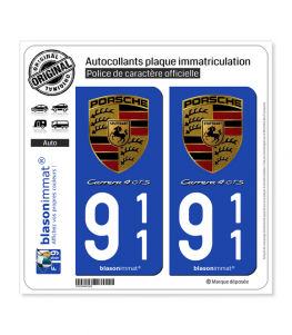 911 Porsche - Carrera 4 GTS | Autocollant plaque immatriculation