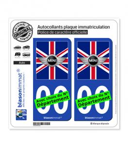Mini Drapée - Royaume-Uni | Autocollant plaque immatriculation