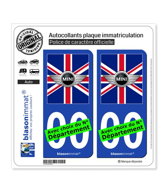 Mini Drapée - Royaume-Uni   Autocollant plaque immatriculation