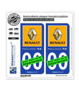 Renault - Mégane RS | Autocollant plaque immatriculation
