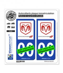 Dodge | Autocollant plaque immatriculation