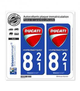821 Ducati - HyperMotard | Autocollant plaque immatriculation