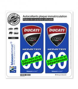 Ducati Corse - Monster | Autocollant plaque immatriculation