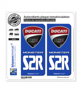 S2R Ducati Corse - Monster | Autocollant plaque immatriculation