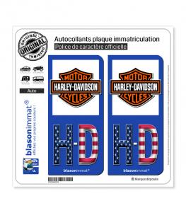 HD-Drapé Harley-Davidson - Blason | Autocollant plaque immatriculation
