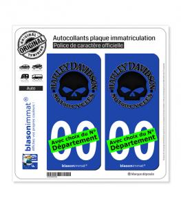 Harley-Davidson - Crâne | Autocollant plaque immatriculation