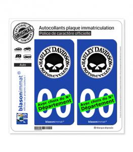 Harley-Davidson - Crâne Macaron | Autocollant plaque immatriculation