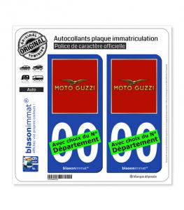 Moto Guzzi - Rouge | Autocollant plaque immatriculation