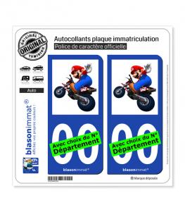 Mario - Motard | Autocollant plaque immatriculation