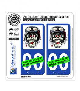 Motard - Zombie Casqué et Clopé | Autocollant plaque immatriculation