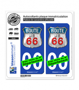 US Route 66 | Autocollant plaque immatriculation