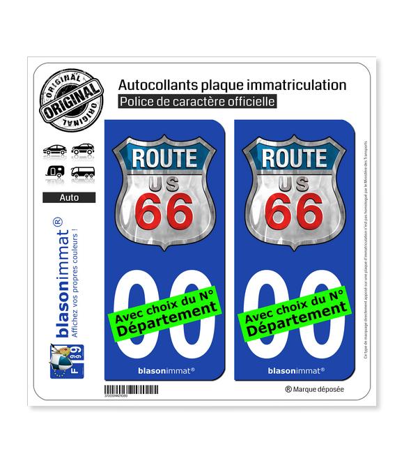 US Route 66 | Autocollant plaque immatriculation