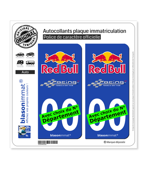 Red Bull - Formula One Team   Autocollant plaque immatriculation