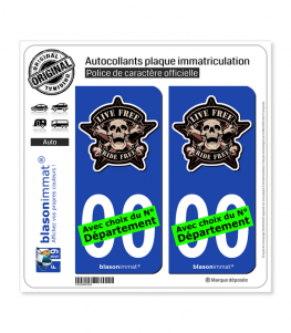 Live Free Ride Free | Autocollant plaque immatriculation