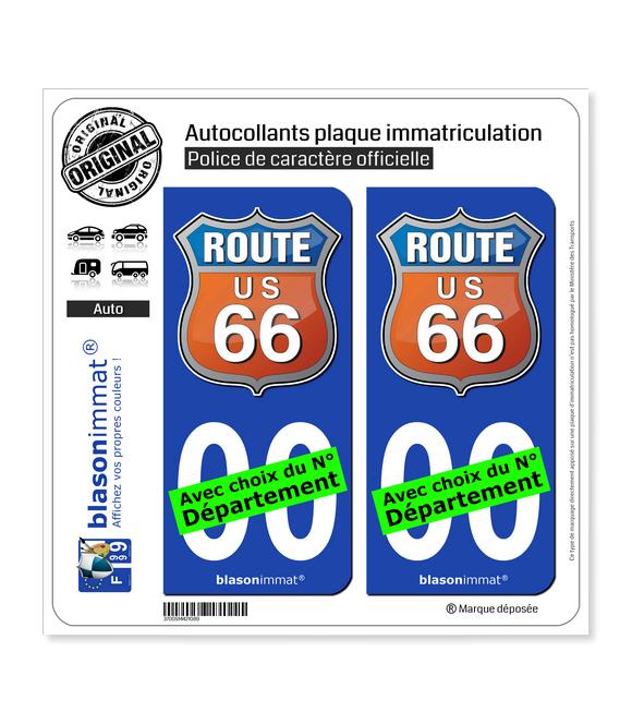 US Route 66 - Couleurs | Autocollant plaque immatriculation