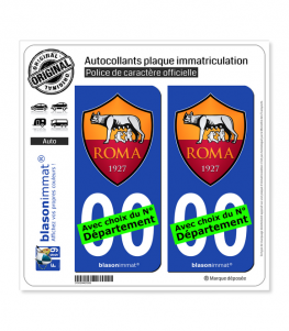 AS Roma - Football Club | Autocollant plaque immatriculation