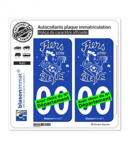 Fiers d'être bleus - Blanc | Autocollant plaque immatriculation