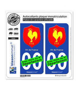 -- XV de France - Blason | Autocollant plaque immatriculation
