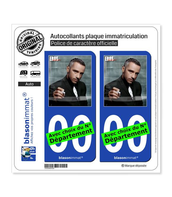 Eros Ramazzotti | Autocollant plaque immatriculation