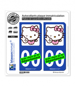 Hello Kitty | Autocollant plaque immatriculation