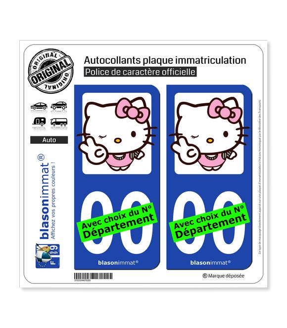 Hello Kitty | Autocollant plaque immatriculation