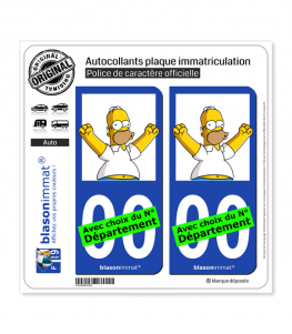 Homer Jay Simpson | Autocollant plaque immatriculation