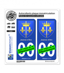 Jeanne d'Arc - Armoiries | Autocollant plaque immatriculation