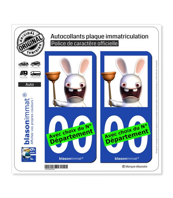 Lapins Crétins - Plombier | Autocollant plaque immatriculation