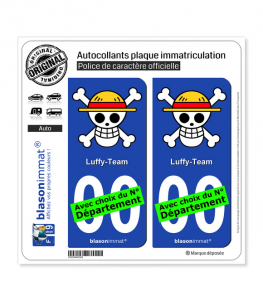 Luffy-Team | Autocollant plaque immatriculation