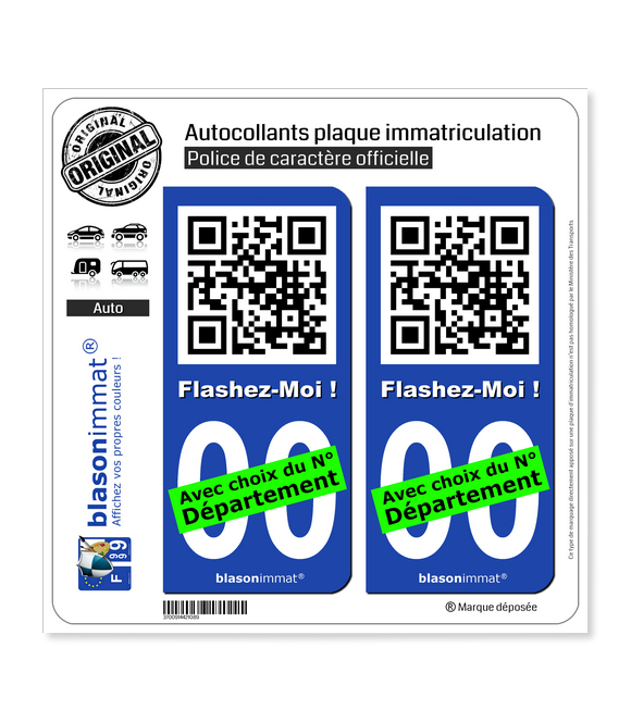 FlashCode - Flashez-Moi | Autocollant plaque immatriculation
