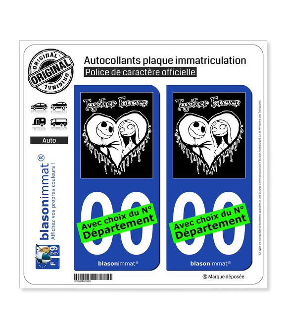 Jack the Nightmare - Before Christmas | Autocollant plaque immatriculation