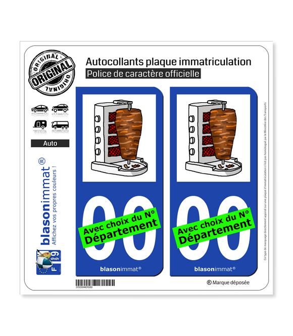 Kebab - Broche | Autocollant plaque immatriculation