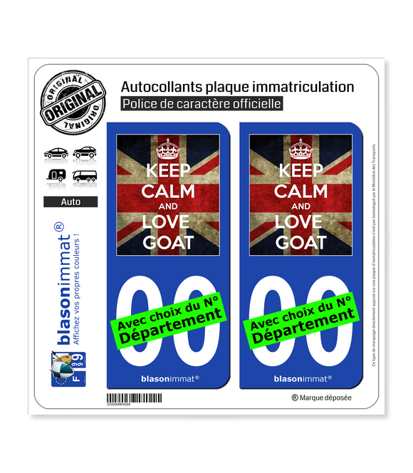 Keep Calm and Love Goat | Autocollant plaque immatriculation
