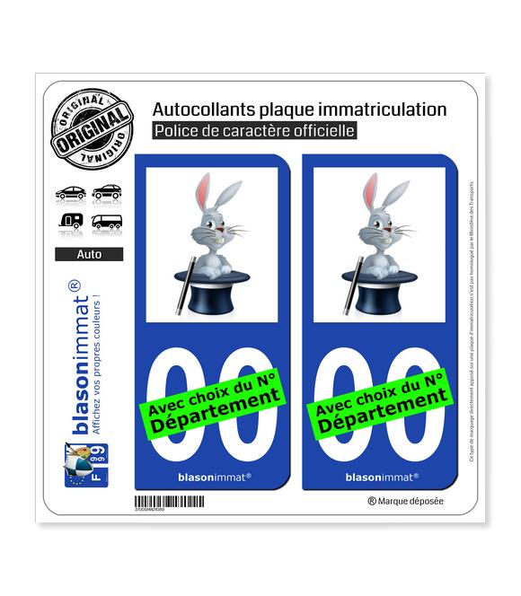Magie - Chapeau Lapin | Autocollant plaque immatriculation