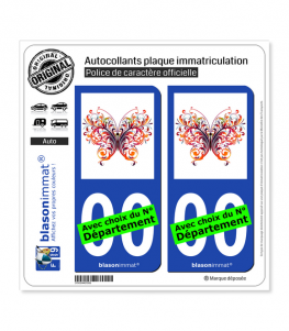 Papillon MultiColor | Autocollant plaque immatriculation