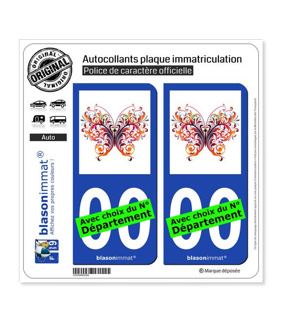 Papillon MultiColor | Autocollant plaque immatriculation
