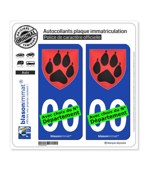 Patte de Loup - Blason | Autocollant plaque immatriculation