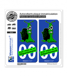 Escargot - Vert | Autocollant plaque immatriculation
