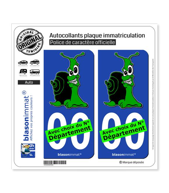 Escargot - Vert | Autocollant plaque immatriculation