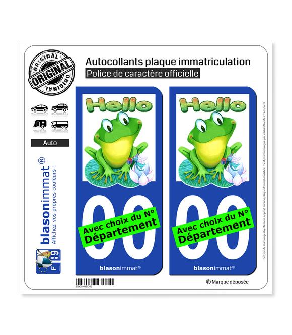 Grenouille - Hello   Autocollant plaque immatriculation