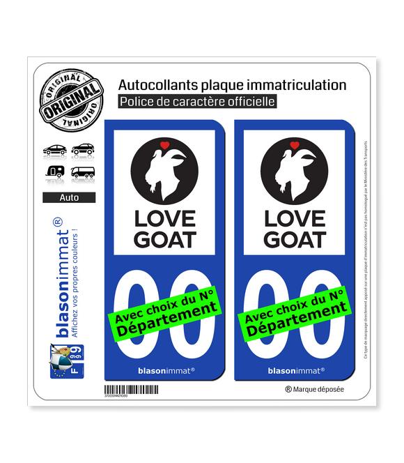 Love Goat | Autocollant plaque immatriculation