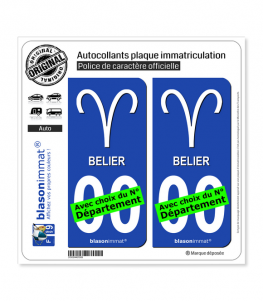 Bélier - Symbole | Autocollant plaque immatriculation