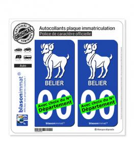 Bélier - Emblème | Autocollant plaque immatriculation