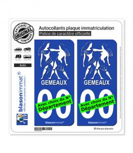 Gémeau - Emblème | Autocollant plaque immatriculation