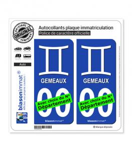 Gémeau - Symbole | Autocollant plaque immatriculation