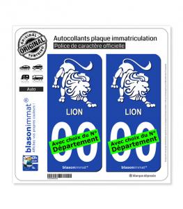 Lion - Emblème | Autocollant plaque immatriculation