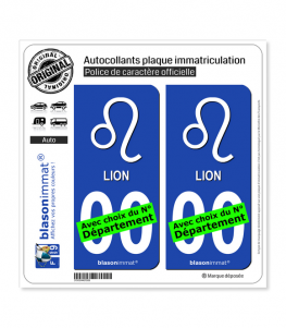 Lion - Symbole | Autocollant plaque immatriculation