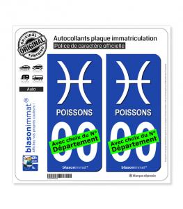 Poissons - Symbole | Autocollant plaque immatriculation