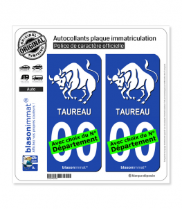 Taureau - Emblème | Autocollant plaque immatriculation